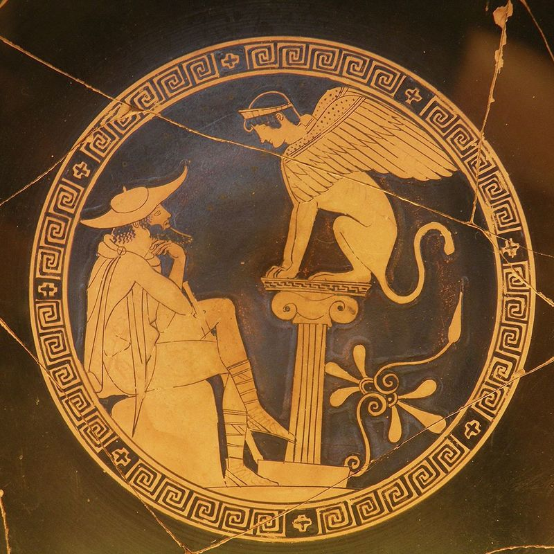 Oedipus and the sphinx of thebes  red figure kylix  c. 470 bc  from vulci  attributed to the oedipus painter  vatican museums (9665213064)